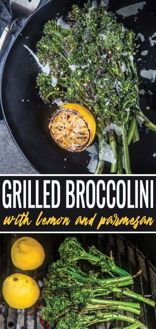 Grilled Broccolini pin for pinterest
