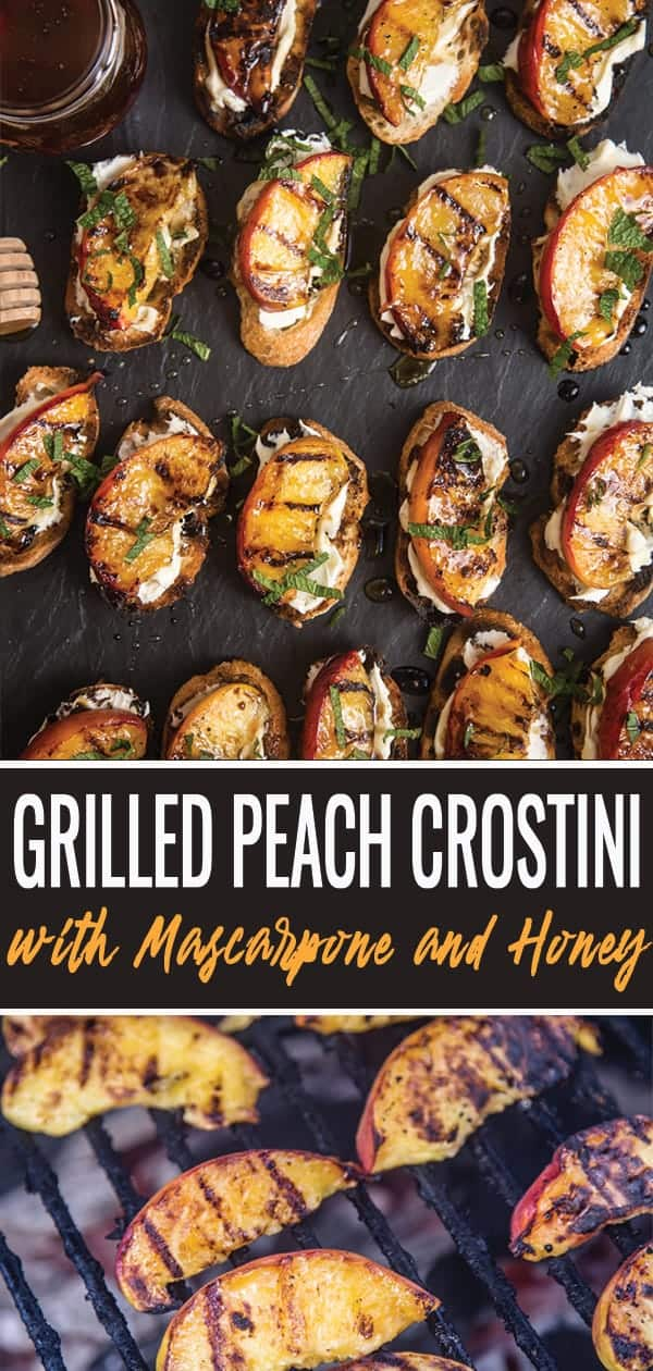 Grilled Peach Crostini pin for pinterest