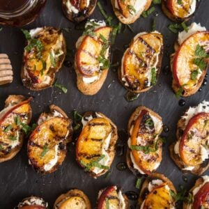 Grilled Peach Crostini with Mascarpone and Honey