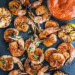 Grilled Shrimp Cocktail served with a Spicy Sriracha Cocktail Sauce