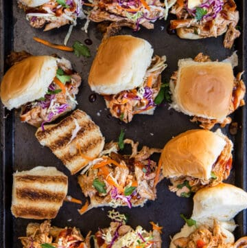 Easy BBQ Chicken Sliders on a sheetpan