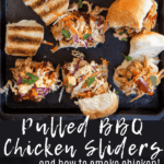 bbq pulled chicken sliders with coleslaw on a sheet pan, pinterest image