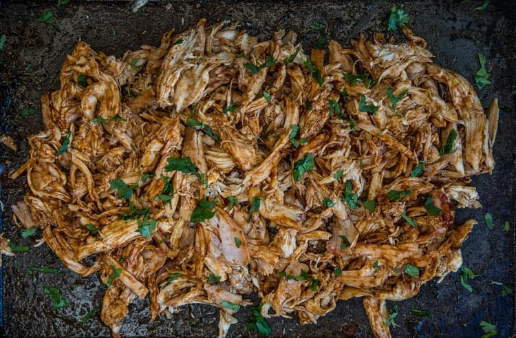 Pulled BBQ Chicken on a sheet pan
