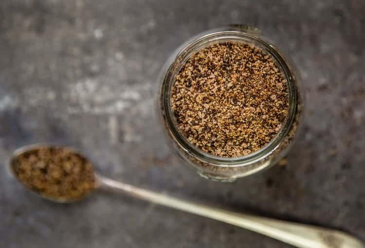 Coffee Steak Rub in a glass jar.