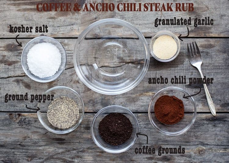 Coffee Ancho Chili Steak Rub ingredients in glass bowls