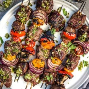 Grilled Steak Skewers on a plate