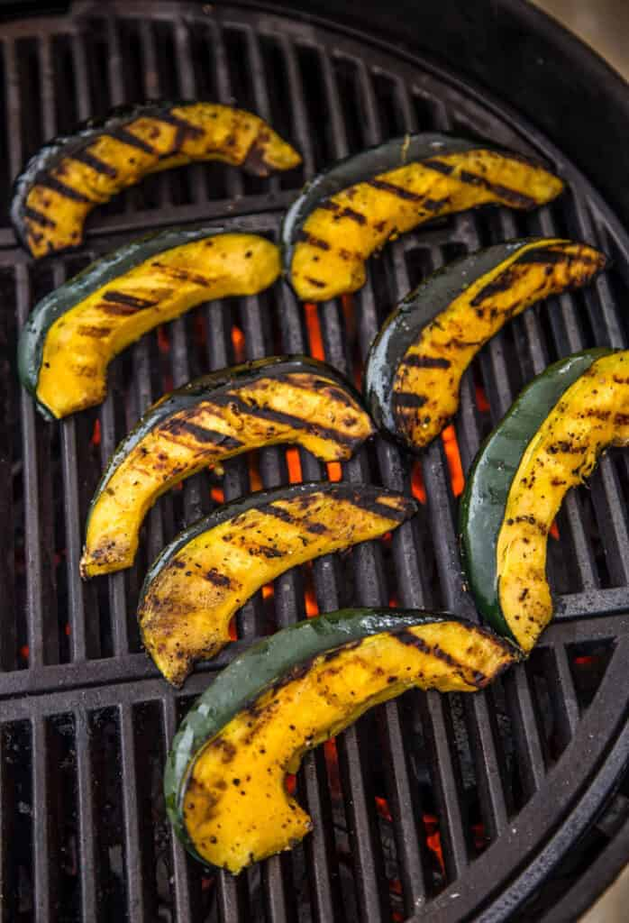 Grilling Acorn Squash wedges on the Grill