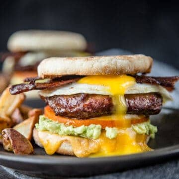 Breakfast Sandwich With Smoked Sausage And Bacon Vindulge