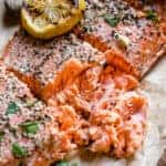 Smoked Salmon flaked and topped with lemon - pinterest text