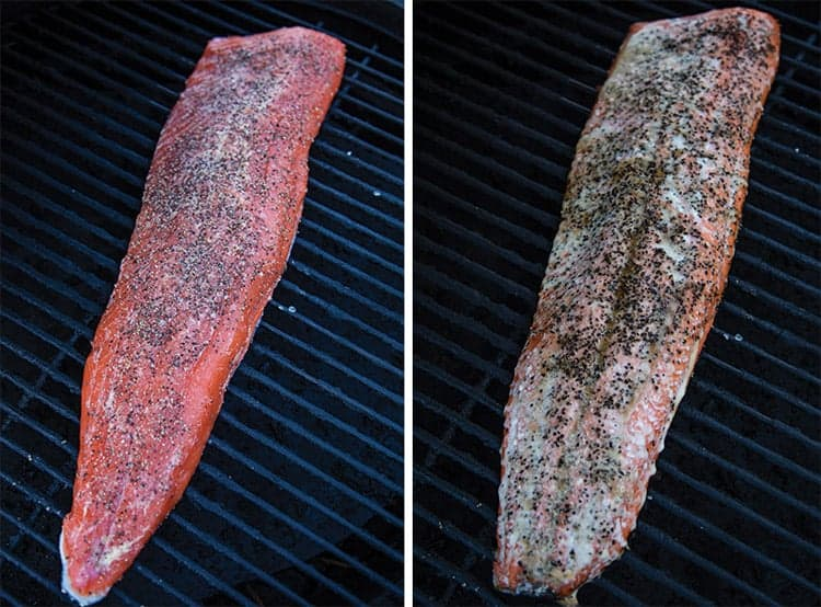 two pieces of salmon side by side on a grill (one uncooked, the other cooked)