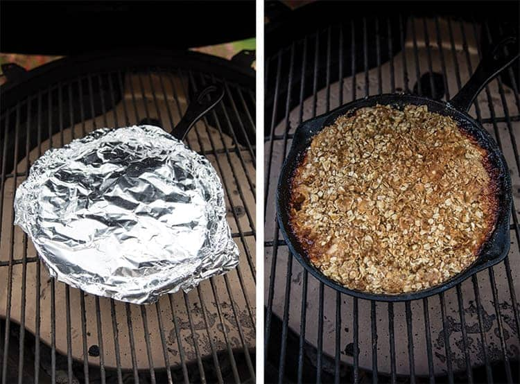 Steps for grilling an apple crisp- one covered with foil and one with oat topping on the grill