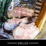 Glazed Rack of Pork Pinterest pin with text on dark background