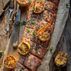 Smoked Salmon Filet with grilled lemon