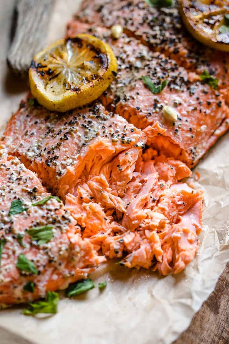 Juicy tender pieces of hot smoked salmon