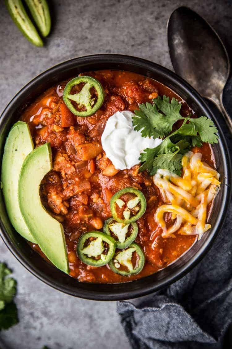 A bowl of turkey chili