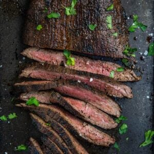 Grilled Flank Steak sliced and ready to be served