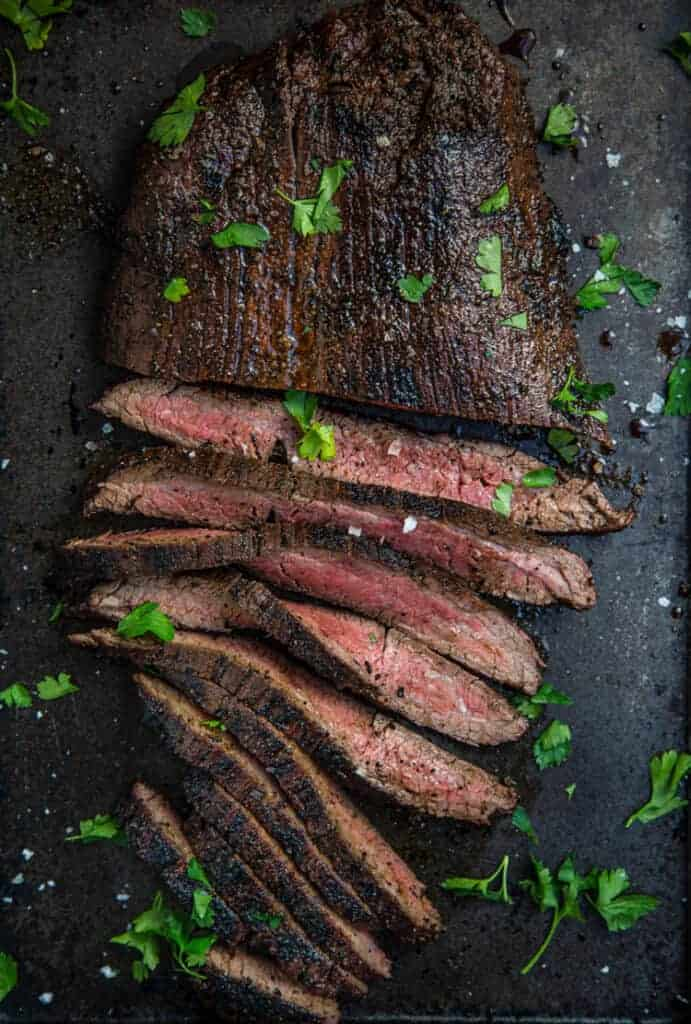 Grilled Flank Steak sliced on a platter