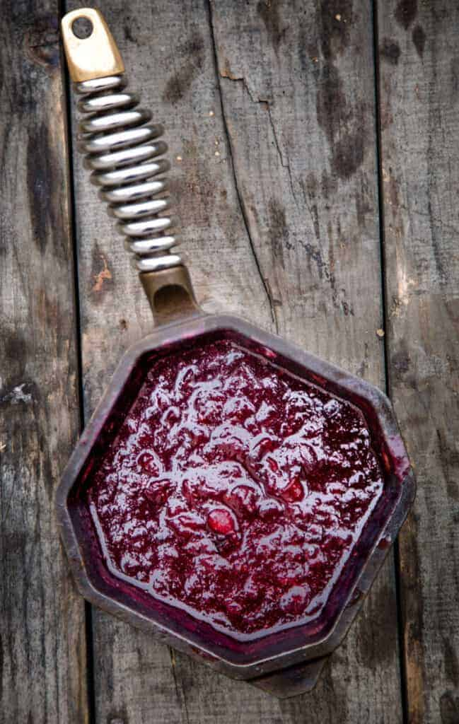 Cranberry Sauce in a small cast iron pan