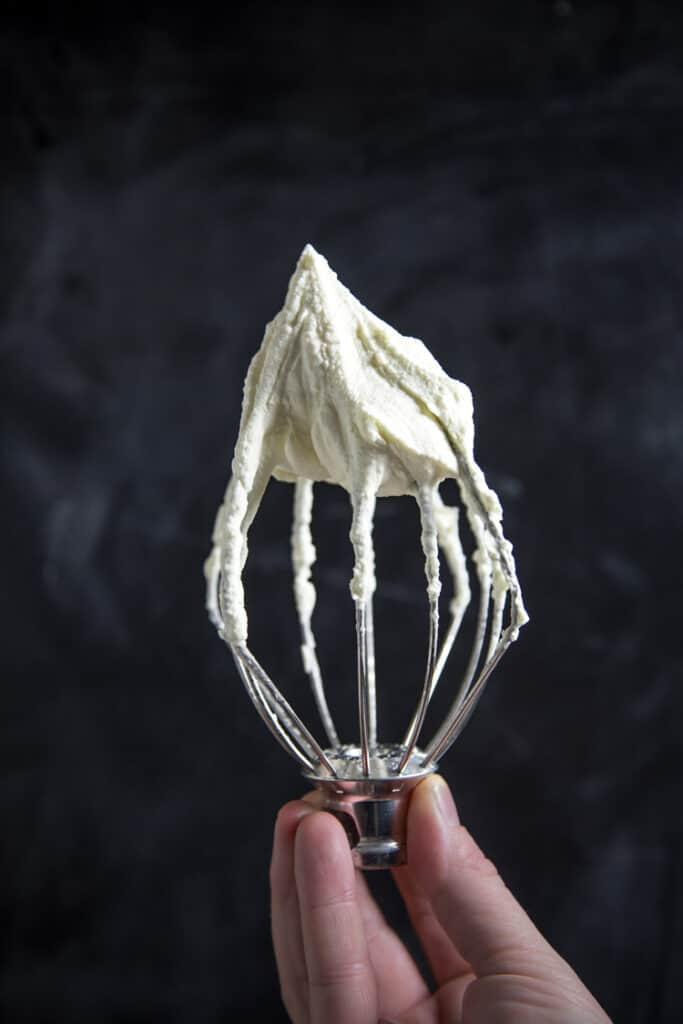 Smoked Whipped Cream on a whisk