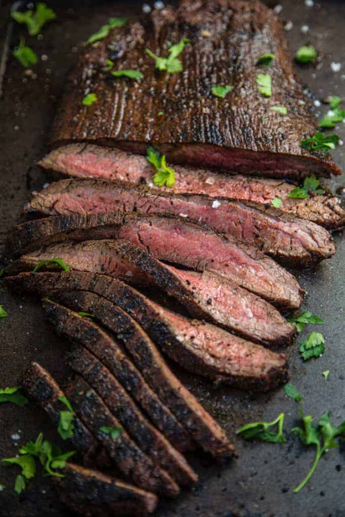 Grilled Flank Steak sliced into thin strips