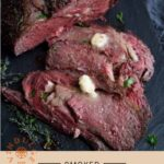 Smoked Prime Rib Pinterest Pin with text on light background