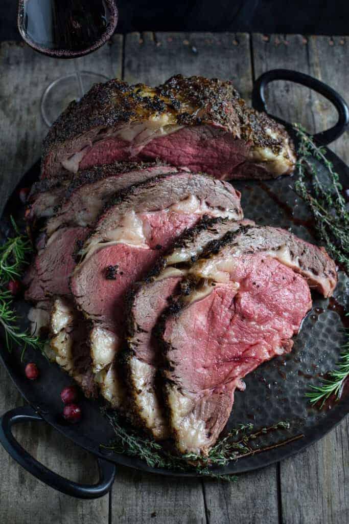 Plated Beef Rib Roast Medium Rare