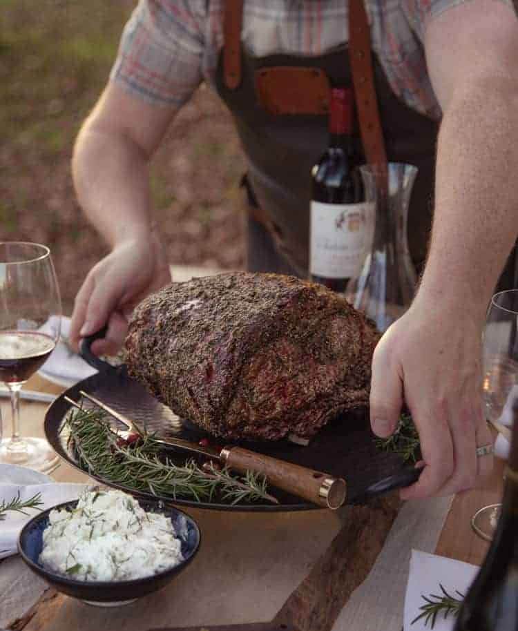 Beef Rib Roast Table Scape with Wine