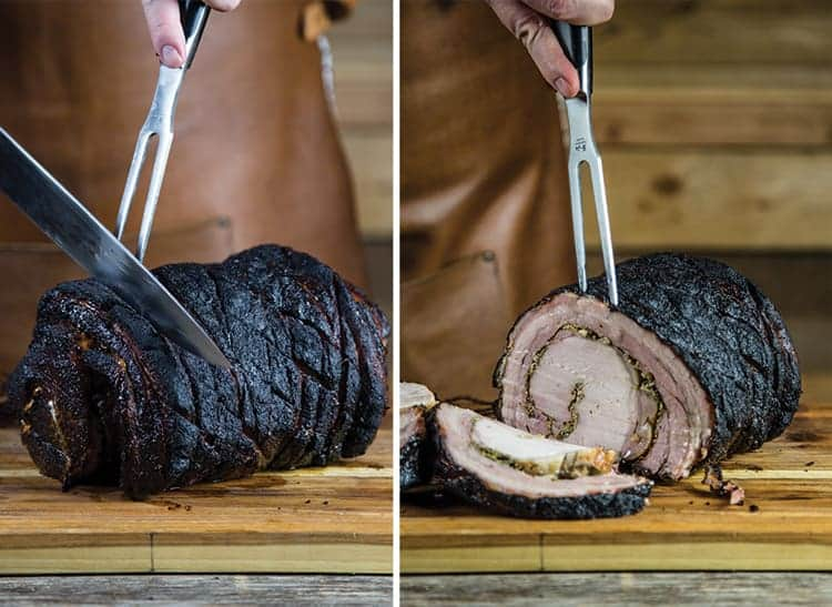 Slicing a porchetta roast, showing the savory filling between layers