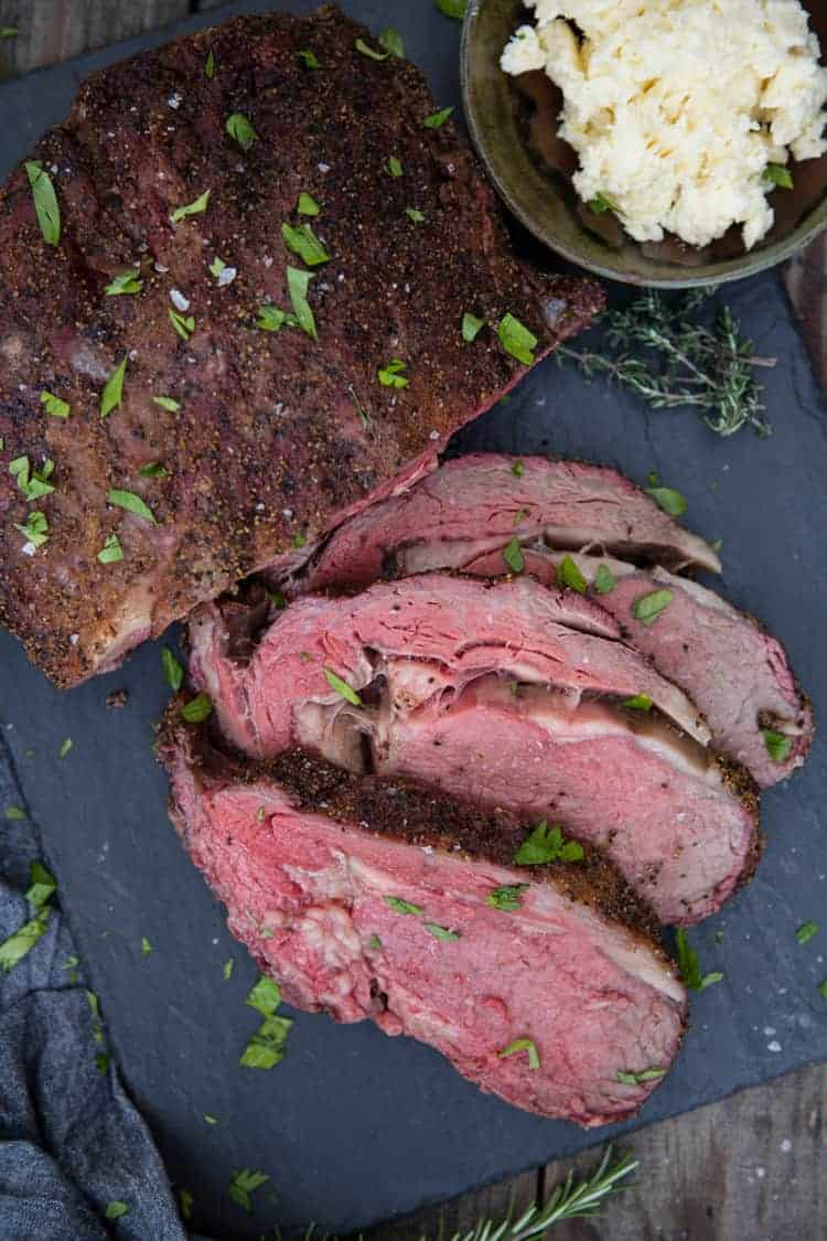 Smoked Holiday Roast with horseradish butter to the side