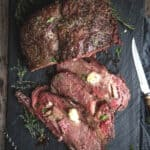 Smoked Prime Rib Roast with horseradish butter, pinterest text on top