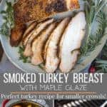 Smoked turkey breast sliced on a plate with maple glaze. pinterest text
