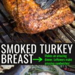 Whole turkey breast on the smoker with pinterest text