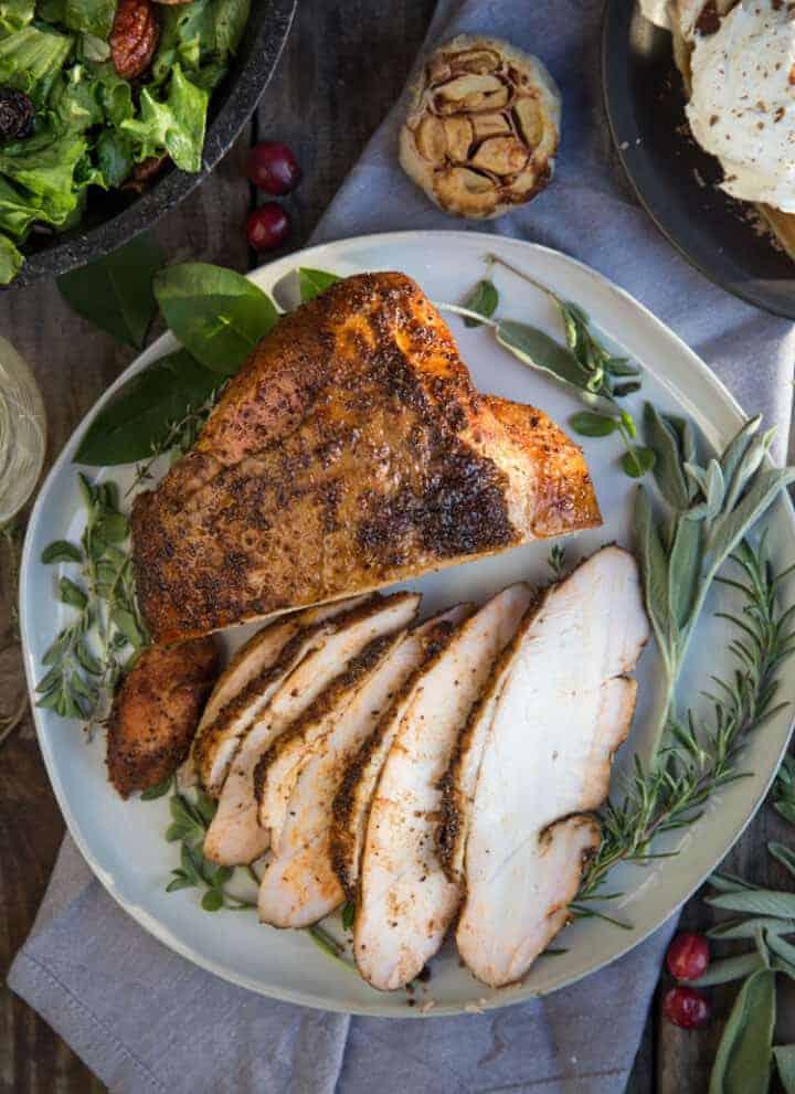 Smoked Turkey Breast on a platter