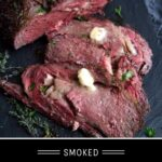 Smoked Prime Rib Pinterest Pin with text on dark background
