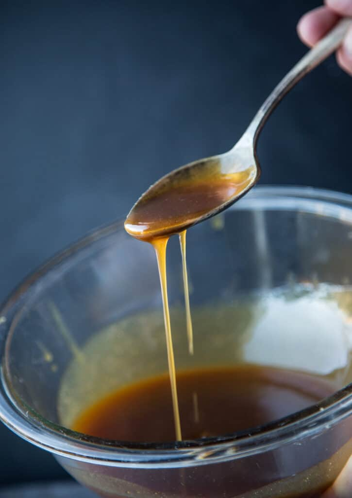Brown sugar glaze with honey.