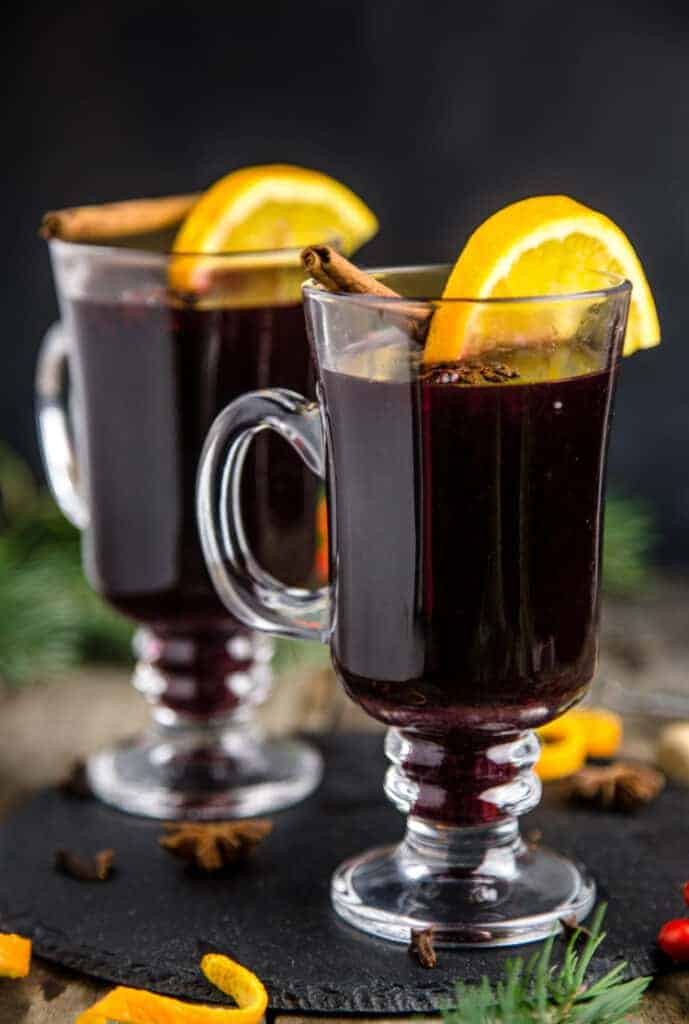 Two glasses of Homemade Mulled Wine