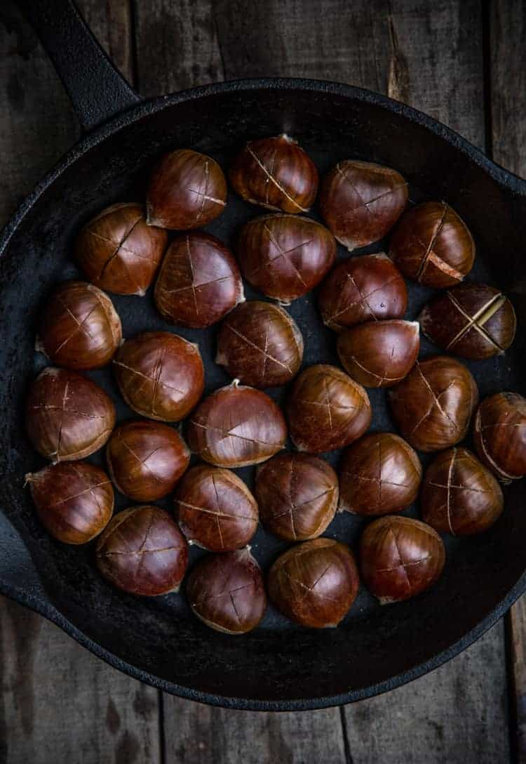 How to score a chestnut to prepare them to cook over an open fire