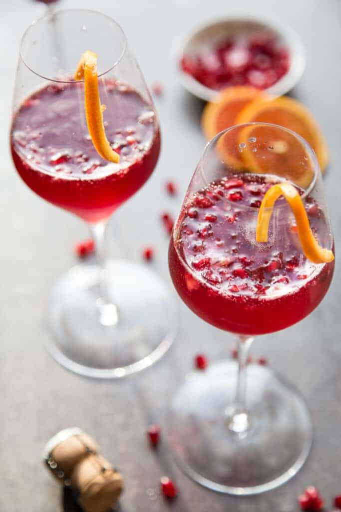 Pomegranate Mimosas ready for a holiday party