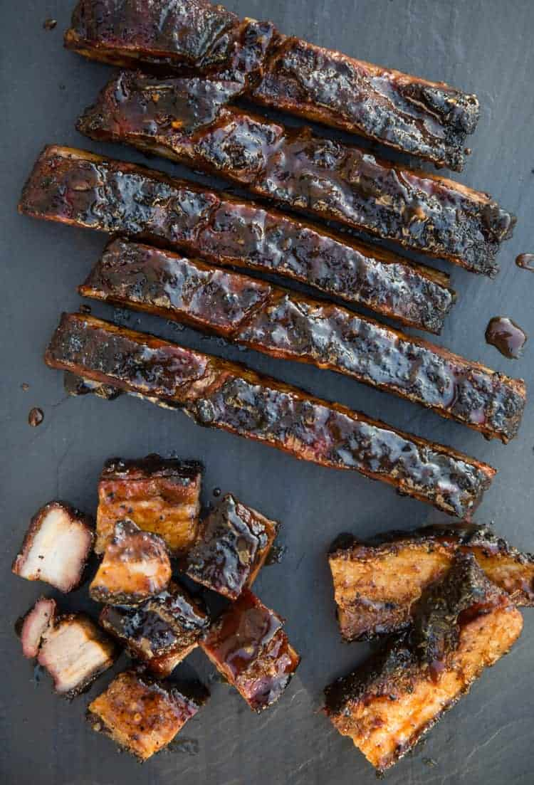 Crispy Pork Belly that was smoked and grilled in the reverse sear style
