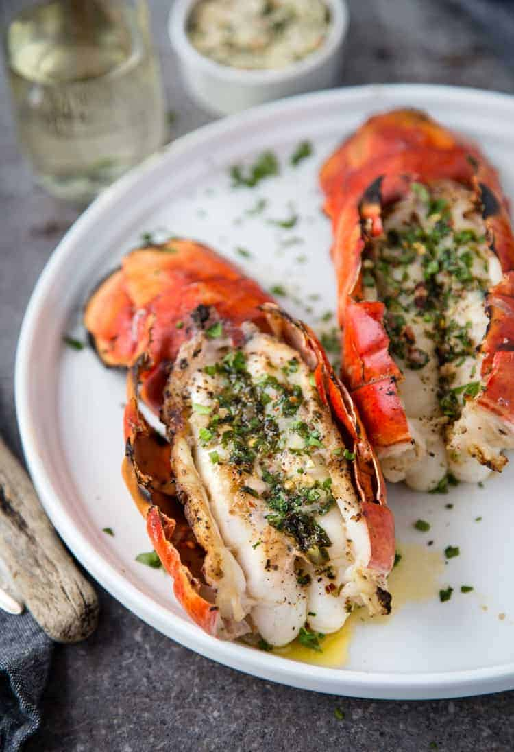 Grilled Lobster Tails with Herb Compound Butter