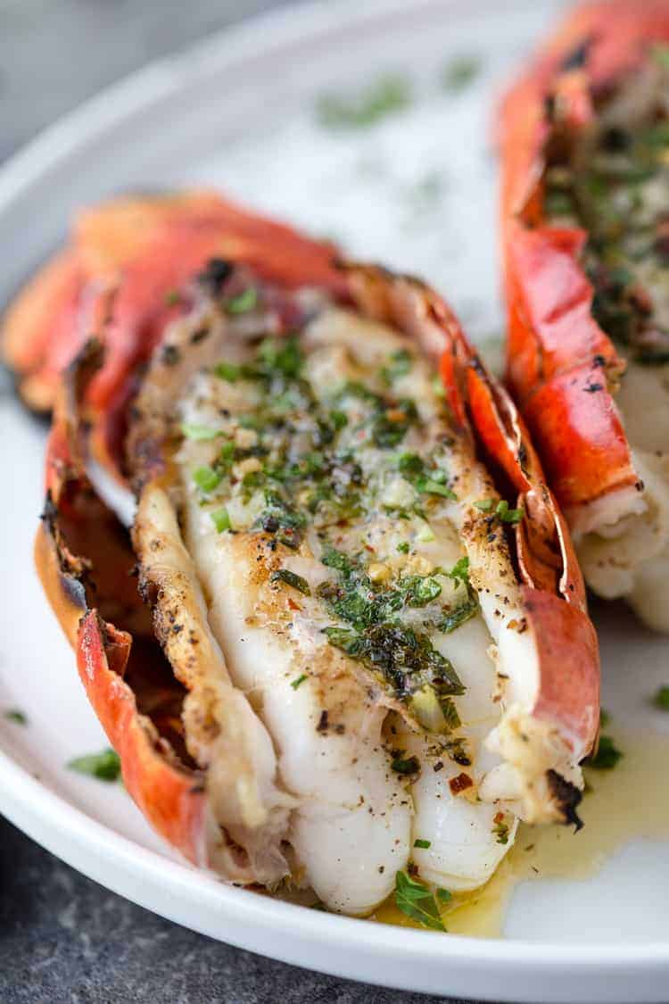 Grilled Lobster Tails with Herb Compound Butter and wine pairing