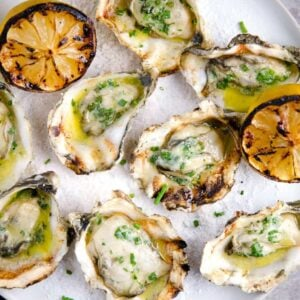 A platter of Grilled Oysters
