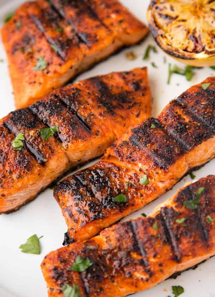 Juicy grilled salmon filets