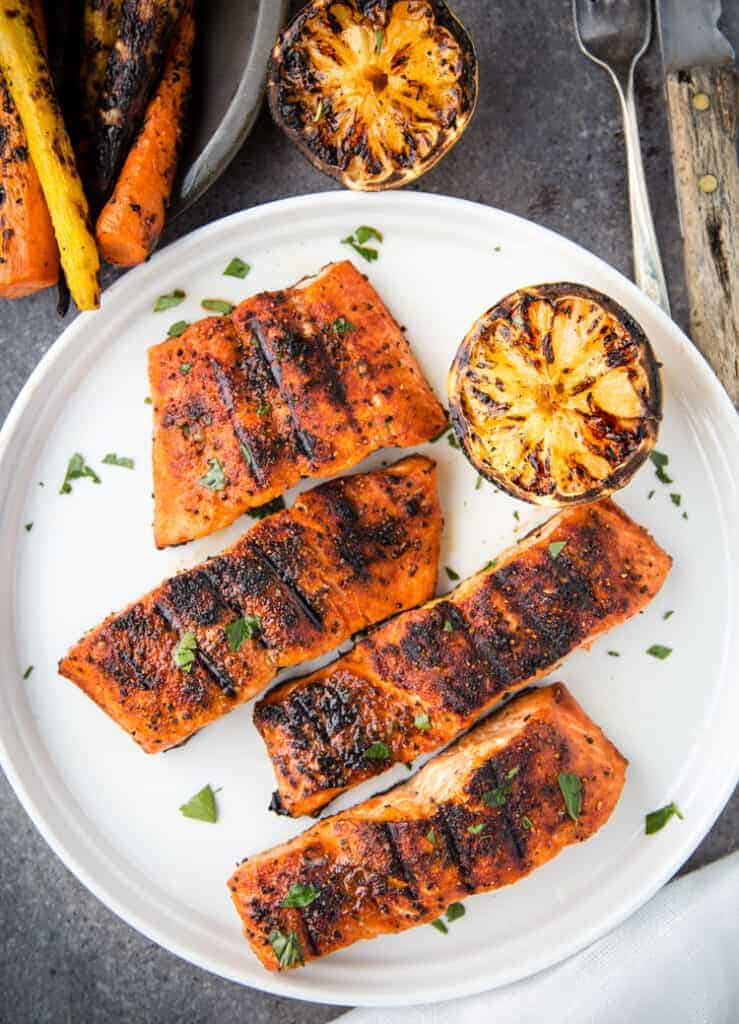 Perfect Grilled Salmon with grilled lemon