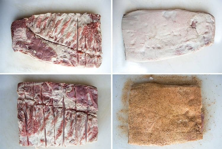 Trimming and seasoning raw pork belly to cook