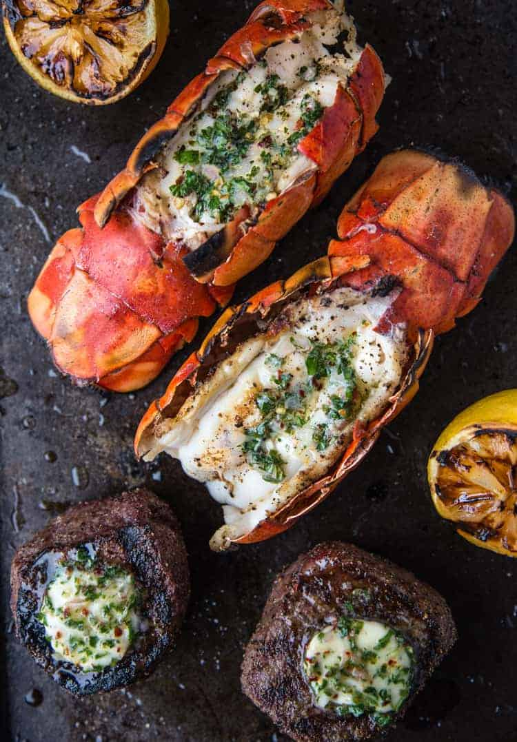 Grilled Lobster and Grilled Filet Mignon resting after grilling
