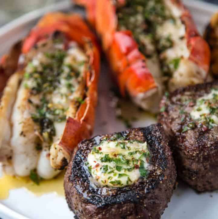 Surf and Turf on a plate with compound butter.