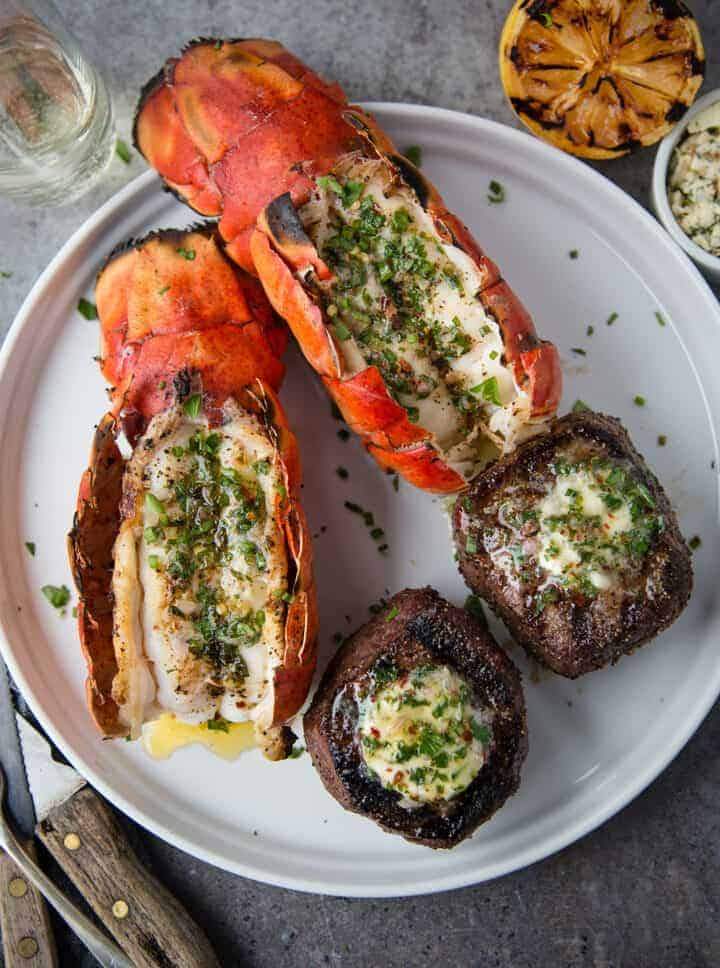 Surf and Turf with Grilled Lobster and Filet Mignon