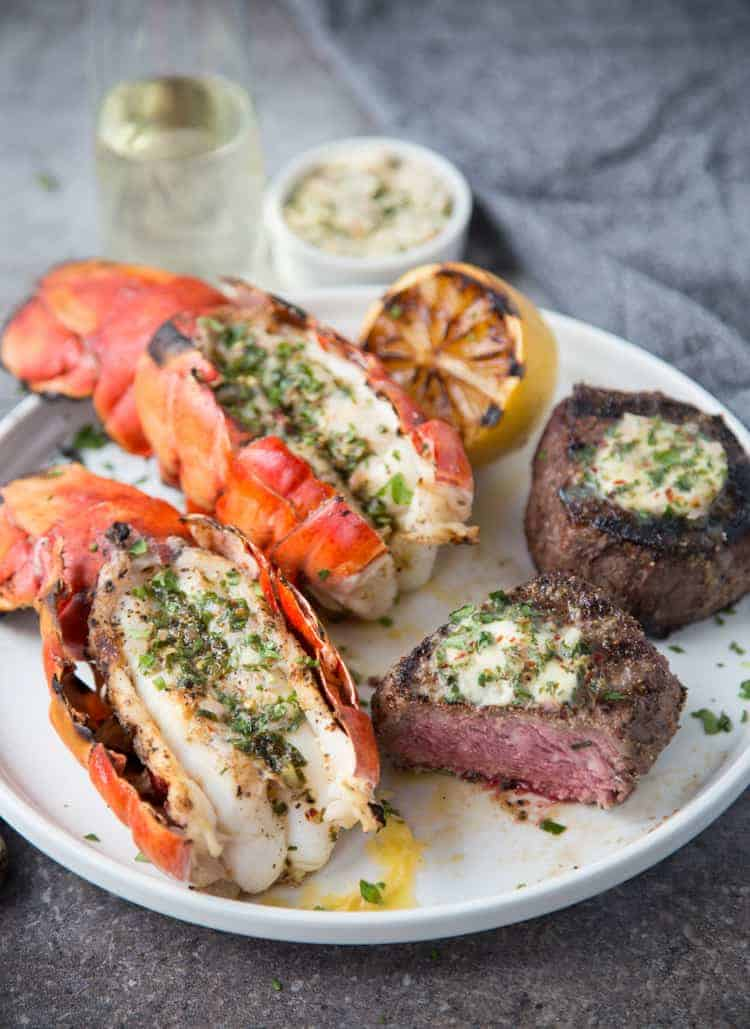 Grilled Lobster and Filet Mignon on a serving platter