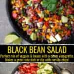 Black Bean Salad with all the ingredients separate, and then mixed together. Pinterest text overlay